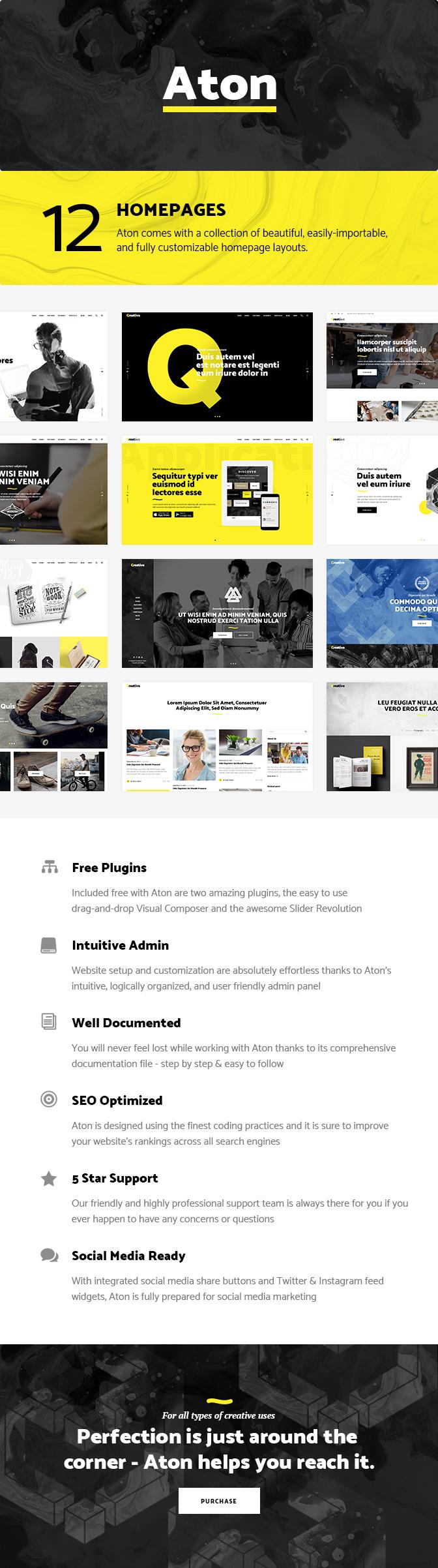 WordPress theme Aton - A Creative Theme for Modern Design Agencies and Freelancers (Portfolio)